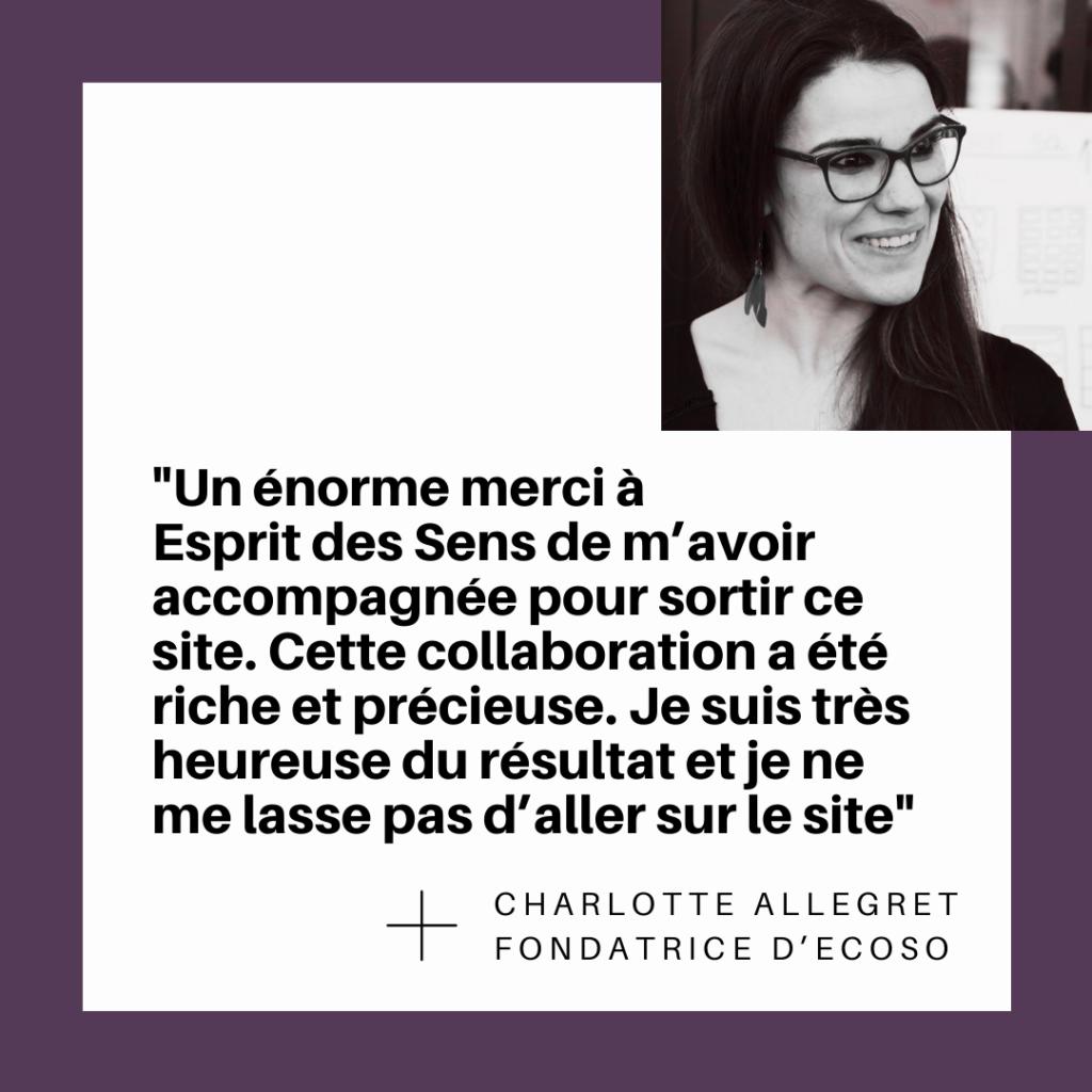 Charlotte Allegret revient sur sa collaboration avec Esprit des Sens pour la création du site web Ecoso.org